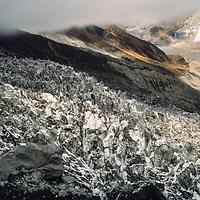 The South Annapurna Glacier, tumbles through the Annapurna Sanctuary in Nepal.