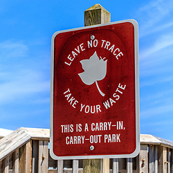 Leave No Trace Take Your Waste sign in Delaware.