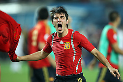 David Villa of Spain celebrates victory after penalty shots at the UEFA EURO 2008 Quarter-Final soccer match between Spain and Italy at Ernst-Happel Stadium, on June 22,2008, in Wien, Austria.  (Photo by Vid Ponikvar / Sportal Images)
