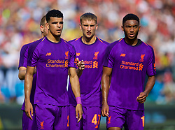 CHARLOTTE, USA - Sunday, July 22, 2018: Liverpool's Dominic Solanke, Nathaniel Phillips and Joe Gomez during a preseason International Champions Cup match between Borussia Dortmund and Liverpool FC at the  Bank of America Stadium. (Pic by David Rawcliffe/Propaganda)