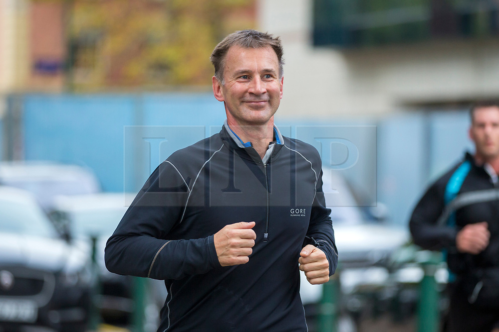 © Licensed to London News Pictures. 02/10/2018. Birmingham, UK. Secretary of State for Foreign Affairs Jeremy Hunt returns from a run this morning at the Conservative Party Conference ahead of Boris Johnson's arrival later today. Conservative party conference being held at the International Convention Centre in Birmingham. Photo credit: Andrew McCaren/LNP
