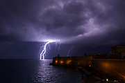 A lightning bolt strikes the sea near Fort St Elmo during a storm in Valletta, Malta February 27, 2019.  REUTERS/Darrin Zammit Lupi      TPX IMAGES OF THE DAY - RC1DDEA92A90