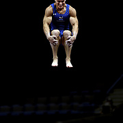 Steven Legendre, Norman, Oklahoma, in action on the Vault during the Senior Men Competition at The 2013 P&G Gymnastics Championships, USA Gymnastics' National Championships at the XL, Centre, Hartford, Connecticut, USA. 16th August 2013. Photo Tim Clayton