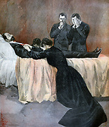 Madame Carnot kneeling by the deathbed of her husband President Sadi Carnot (1827-1895) after his assassination on 24 June 1894. From 'Le Petit Journal', Pa;ris, 2 July 1894. French,  France, Wife, Grief, Mourning