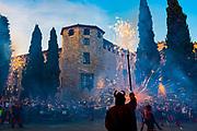 Saint John's Night Celebration 23 June 2019 - The Catalan Festival of Fire. Revetlla de Sant Joan -  Correfoc - fire running -  Placa Octavia, Sant Cugat