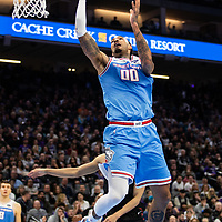 Sacramento King Willie Cauley-Stein drive through the Los Angeles Clipper defense Firday, March 1, 2019 at the Golden1 center in Sacramento, Calif.