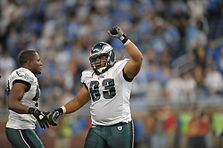 DETROIT - SEPTEMBER 19: Defensive tackle Trevor Laws #93 of the Philadelphia Eagles celebrates the win during the game against the Detroit Lions on September 19, 2010 at Ford Field in Detroit, Michigan. (Photo by Drew Hallowell/Getty Images)  *** Local Caption *** Trevor Laws