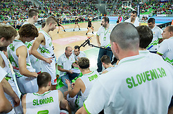 Jure Zdovc, head coach of Slovenia and Gasper Potocnik, assistant coach of Slovenia with players during friendly basketball match between National Teams of Slovenia and Brasil at Day 2 of Telemach Tournament on August 22, 2014 in Arena Stozice, Ljubljana, Slovenia. Photo by Vid Ponikvar / Sportida