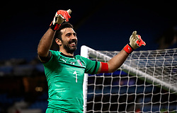 Italy's Gianluigi Buffon acknowledges the fans after the international friendly match at the Etihad Stadium, Manchester