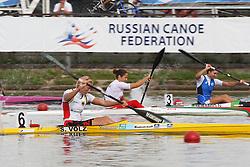 08.08.2014, Krylatskoe, Moskau, RUS, ICF, Kanu WM 2014, Moskau, im Bild Sabine Volz (Karlsruhe) im Vorlauf KI 200m bei der Kanu-WM in Moskau // during the ICF Canoe Sprint World Сhampionships 2014 at the Krylatskoe in Moskau, Russia on 2014/08/08. EXPA Pictures © 2014, PhotoCredit: EXPA/ Eibner-Pressefoto/ Freise<br /> <br /> *****ATTENTION - OUT of GER*****