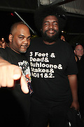 """June 2, 2012- Philadelphia, PA, United States: (L-R) Recording Artist Mace(De La Soul) and Quest?Love(The ROOTS) attend the 5th Annual ROOTS Picnic held at Festival Pier at Penn's Landing in Philadelphia, PA . The Roots is an American hip hop/neo soul band formed in 1987 by Tariq """"Black Thought"""" Trotter and Ahmir """"Questlove"""" Thompson in Philadelphia, Pennsylvania. They are known for a jazzy, eclectic approach to hip hop which includes live instrumentals. (Photo by Terrence Jennings)"""