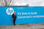 03/02/2014 HP Ireland today announced the formal commencement of the construction phase of its new 89,000 sq. ft. office building in Ballybrit, Galway, at a ceremony attended by An Taoiseach, Enda Kenny, TD. <br /> The project is expected to be one of the largest construction projects in Galway in recent times, and is likely to create up to 200 construction jobs. <br /> Pictured at the event were:   An Taoiseach Enda Kenny TD at a brick laying ceremony at HP . Photo:Andrew Downes.