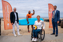 Gerard Dielessen, general director NOC*NSF, Roy Meyer, Ambassador Olympic Festival, Esther Vergeer, chef de mission Paralympic TeamNL and Alderman Hilbert Bredemeijer during the launch TeamNL Olympic Festival on June 23, 2021 in The Hague