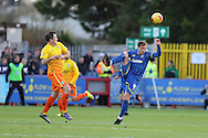 Dannie Bulman of AFC Wimbledon stretches for the ball during the Sky Bet League 2 match between AFC Wimbledon and Wycombe Wanderers at the Cherry Red Records Stadium, Kingston, England on 21 November 2015. Photo by Stuart Butcher.