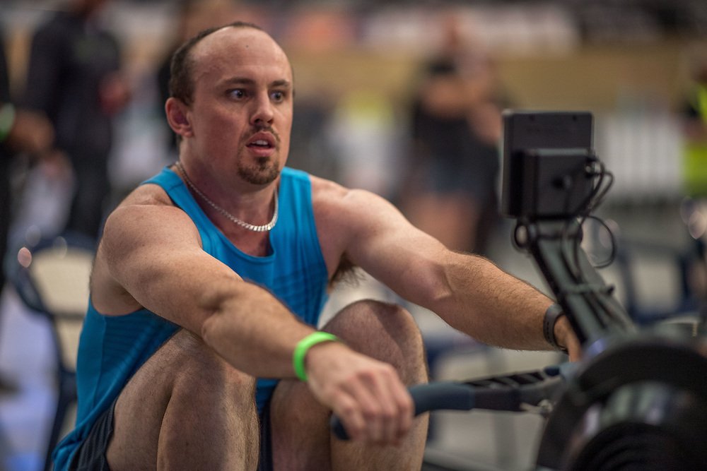 Jamie Wilson  MALE HEAVYWEIGHT Masters A 2K Race #1 08:30am<br /> <br /> www.rowingcelebration.com Competing on Concept 2 ergometers at the 2018 NZ Indoor Rowing Championships. Avanti Drome, Cambridge,  Saturday 24 November 2018 © Copyright photo Steve McArthur / @RowingCelebration