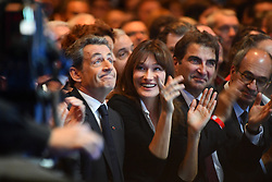 Right-wing Les Republicains (LR) party's candidate for the LR party primaries ahead of the 2017 presidential election, former French President Nicolas Sarkozy and his wife Carla Bruni-Sarkozy attend a campaign rally at the Zenith venue in Paris, France, on October 9, 2016. Photo by Francois Pauletto/ABACAPRESS.COM
