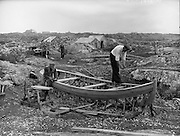 Carna. West of Ireland Boat Bulding with the Cloherty family..14/05/1959<br /> 86 year old Peter Cloherty and his two sons, Marcin and Joseph at work.