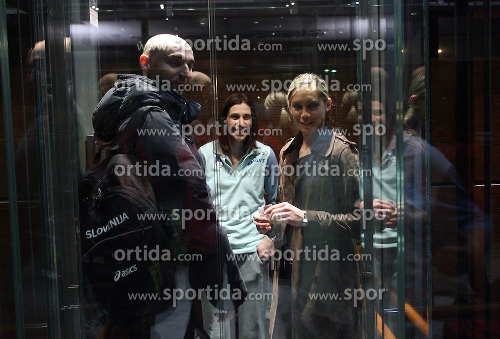 Matija Sestak, Marija Sestak and Snezana Rodic in the lift when Slovenian athletics team for European Athletics Indoor Championships come to their hotel Art&Tech Meridien in Torino,  Italy, on March 4, 2009. (Photo by Vid Ponikvar / Sportida)