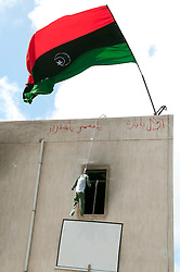 © under license to London News Pictures. 24/02/2011. An effigy of Muammar Gaddafi hangs beneath the flag of the Opposition in Benghazi, Libya. Photo credit should read Michael Graae/London News Pictures