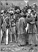 First Anglo-Afghan War 1838-1842: Rescue of British prisoners from the Afghans after the defeat of Akbar Khan, April 1842. General Robert Sale united with his wife and daughter. Wood engraving c. 1885