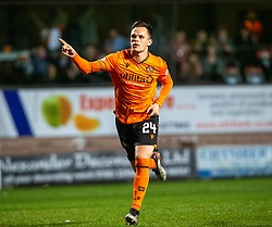 Dundee United's Lawrence Shankland cele scoring their second goal from their penalty. Dundee United 4 v 0 Ayr United, Scottish Championship game played 21/12/2019 at Dundee United's stadium Tannadice Park.
