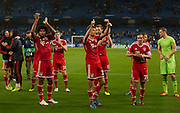 02.10.2013 Manchester, England.  Bayern Munich  players thank the fans for their support after  the Group D UEFA Champions League game between, Manchester City and Bayern Munich from the Etihad Stadium.