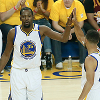12 June 2017: Golden State Warriors forward Kevin Durant (35) is seen with Golden State Warriors guard Stephen Curry (30) during the Golden State Warriors 129-120 victory over the Cleveland Cavaliers, in game 5 of the 2017 NBA Finals, at the Oracle Arena, Oakland, California, USA.