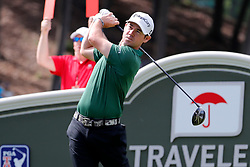 June 22, 2018 - Cromwell, CT, U.S. - CROMWELL, CT - JUNE 22: Brian Harman of the United States drives from the 18th tee during the Second Round of the Travelers Championship on June 22, 2018, at TPC River Highlands in Cromwell, Connecticut. (Photo by Fred Kfoury III/Icon Sportswire) (Credit Image: © Fred Kfoury Iii/Icon SMI via ZUMA Press)