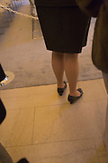close up of businesswoman legs while waiting to enter the conference meeting
