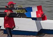 Poznan. Poland. Blade/Oar carring, FISA 2015 European Rowing Championships. Venue Lake Malta. 28.05.2015. [Mandatory Credit: Peter Spurrier/Intersport-images.com]