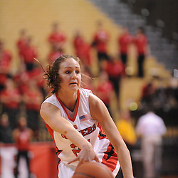 Feb 10, 2009; Piscataway, NJ, USA; Rutgers forward Heather Zurich (21) passes into the paint to center Kia Vaughn (not pictured) during the second half of #19 Pittsburgh's 61-54 overtime victory over Rutgers in Women's College Basketball at the Louis Brown Athletic Center.