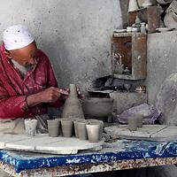 Africa, Morocco, Fes. Ceramic Artisan of Fes.