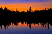 Boreal forest reflection at sunset<br /> Franquelin<br /> Quebec<br /> Canada