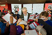he Labour leader Jeremy Corbyn signing autographs for Islington school children at Arsenal's Emirates Stadium in London where he spoke at the Show Racism the Red Card event highlighting race issues and how children can address them. Emirates Stadium, London. United Kingdom. 8th February 2018.