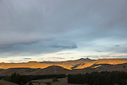 Sunset over the Patagonian plains, Estancia Huechahue, Patagonia, Argentina, South America