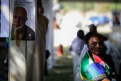 JOHANNESBURG, March 29, 2017  A man attends the funeral of Ahmed Kathrada at Westpark Cemetery in Johannesburg, South Africa, on March 29, 2017. South African anti-apartheid stalwart Ahmed Kathrada died in the early hours of Tuesday morning at the age of 87.  sxk) (Credit Image: © Zhai Jianlan/Xinhua via ZUMA Wire)