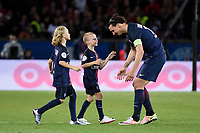 Swedish forward Zlatan Ibrahimovic of Paris Saint Germain leaves the field with his sons after scoring the 4th goal for his team and his last in French Championship during the French Championship Ligue 1 football match between Paris Saint Germain and FC Nantes on May 14, 2016 at Parc des Princes stadium in Paris, France - Photo Jean Marie Hervio / Regamedia / DPPI
