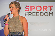 Julia Immonen, the charity organiser - UK charity, Sport for Freedom (SFF), marks Anti-Slavery Day 2015 by hosting a charity Gala Dinner, supported by Aston Martin, on Thursday 15th October at Stamford Bridge, home of Chelsea Football Club. This inaugural event brought together people from the world of sport, entertainment, media, and business to unite behind a promise to tackle the issue of modern day human trafficking and slavery.  <br /> Hosted by Sky presenters Sarah-Jane Mee and Jim White, the Sport for Freedom Gala Dinner includes guests such as jockey AP McCoy OBE; Denise Lewis, former British Olympic Gold Medal winner; BBC Strictly star, Brendan Cole; Al Bangura, former Watford FC player and Sport for Freedom Ambassador who was trafficked from Africa to the UK at the age of just 14yrs old; Made in Chelsea star, Ollie Proudlock; ITV weather presenter, Lucy Verasamy; Sky Sports F1 presenter and SFF Ambassador, Natalie Pinkham; Premier League footballers Ryan Bertrand of Southampton FC and Troy Deeney of Watford FC and champion boxer, Anthony Joshua; and The UK's first independent Anti Slavery Commissioner, Kevin Hyland OBE, who highlighted the issues of modern day slavery that face the UK and world today. <br /> The evening concluded with chart topping music from 'Naughty Boy'. <br /> Sport for Freedom are also joining forces with the Premier League Academies for an international  'Football for Freedom' tournament with their U16's players that will also involve educating those taking part about the issues surrounding modern day slavery. The final will take place at Liverpool FC's Academy on Anti-Slavery Day, 18th October.
