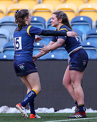 Hannah Bluck of Worcester Warriors Women is congratulated on her try by Abi Kershaw - Mandatory by-line: Nick Browning/JMP - 09/01/2021 - RUGBY - Sixways Stadium - Worcester, England - Worcester Warriors Women v DMP Durham Sharks - Allianz Premier 15s