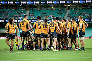 Brumbies players celebrate a scrum turnover. NSW Waratahs v ACT Brumbies. 2021 Super Rugby AU Round 7 Match. Played at Sydney Cricket Ground on Friday 2 April 2021. Photo Clay Cross / photosport.nz