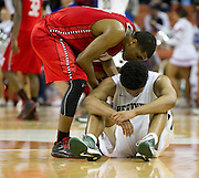 Tory Everett (3) of Richardson Berkner receives words from Andrew Harrison (5) after losing to Fort Bend Travis during the UIL Conference 5A semifinals at the Frank Erwin Center in Austin on Friday, March 8, 2013. (Cooper Neill/The Dallas Morning News)