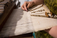 Chiara Vigo working at her loom. She often works on canvasses for wedding or baptism, but nothing she do is fore sale. The byssus is just part of the sea, you can not sell it, she says.  Federico Scoppa 2017