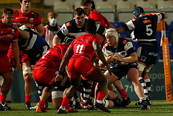 Nic Dolly of Coventry Rugby is confronted by Kapeli Pifeleti of Saracens and Rotimi Segun of Saracens  - Mandatory by-line: Nick Browning/JMP - 26/02/2021 - RUGBY - Butts Park Arena - Coventry, England - Coventry Rugby v Saracens - Friendly