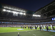 Both teams come out from the tunnel before k/o. UEFA Champions league match, group E, Tottenham Hotspur v AS Monaco at Wembley Stadium in London on Wednesday 14th September 2016.<br /> pic by John Patrick Fletcher, Andrew Orchard sports photography.