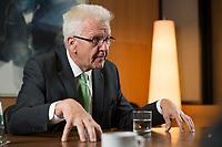 25 SEP 2015, BERLIN/GERMANY:<br /> Winfried Kretschmann, B90/ Gruene, Ministerpraesident Baden-Wuerttemberg, waehrend einem Interview, Bundesrat<br /> IMAGE: 20150925-02-015