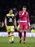 Football - 2019 / 2020 Emirates FA Cup - Fourth Round, Replay: Tottenham Hotspur vs. Southampton<br /> <br /> Southampton's Angus Gunn with Che Adams at the final whistle, at The Tottenham Hotspur Stadium.<br /> <br /> COLORSPORT/ASHLEY WESTERN