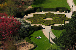 BRUSSELS, BELGIUM - APRIL-04-2007 -  Aerial view of ornamental maze like garden at the Botanique, the botanical gardens, a well known landmark in Brussels. (Photo © Jock Fistick)