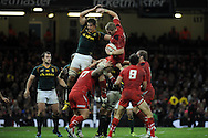 Bradley Davies jumps to claim a line out ball for Wales. Autumn International rugby, 2013 Dove men series, Wales v South Africa at the Millennium Stadium in Cardiff,  South Wales on Saturday 9th November 2013. pic by Andrew Orchard, Andrew Orchard sports photography,