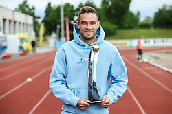 Timi Max Elsnik of Olimpija with SPINS award for best young player during football match between NK Bravo and NK Olimpija in 36th Round of Prva liga Telekom Slovenije 2020/21, on May 22, 2021 in Sportni park ZAK, Ljubljana, Slovenia. Photo by Vid Ponikvar / Sportida