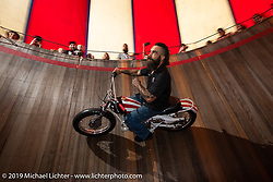 Hobo Bill rides the wall of the American Motordrome Wall of Death at the Handbuilt Show. Austin, TX. USA. Sunday April 22, 2018. Photography ©2018 Michael Lichter.
